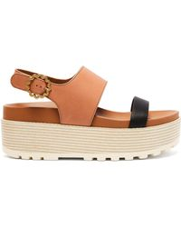 See By Chloé - Flower Buckle Leather Flatform Sandals - Lyst
