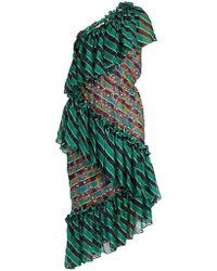 Marco De Vincenzo - Tiered Embroidered-stripe Silk-chiffon Dress - Lyst
