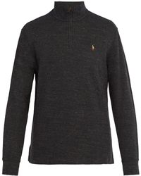Polo Ralph Lauren - Logo Embroidered Half Zip Cotton Jersey Sweater - Lyst