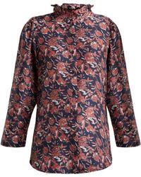 Apiece Apart - Marijn Floral-print Silk Blouse - Lyst