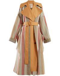 ROKSANDA - Lennix Striped Cotton Blend Trench Coat - Lyst