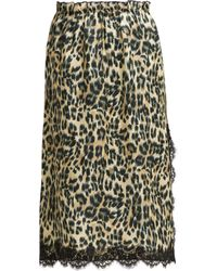 Icons - Carnation Leopard Print Satin Midi Skirt - Lyst