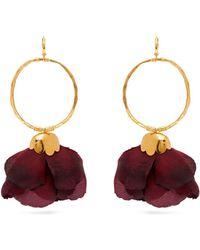 Elise Tsikis - Natura Silk Flower Gold Plated Brass Hoop Earrings - Lyst