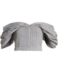 Jonathan Simkhai | Off-the-shoulder Gingham Cropped Top | Lyst
