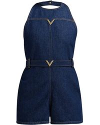 Valentino - V Plaque Halterneck Denim Playsuit - Lyst