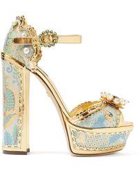3e37032dd7e Dolce   Gabbana - Keira Jacquard Brocade Platform Sandals - Lyst