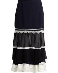 Jonathan Simkhai | Fringed-hem Silk Midi Skirt | Lyst