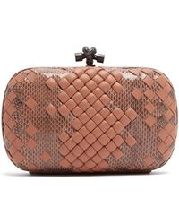 Bottega Veneta - Knot Satin And Watersnake Clutch - Lyst