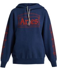 Aries - Logo Print Hooded Cotton Sweatshirt - Lyst