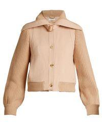 Chloé - Contrast Knit-sleeve Wool-twill Jacket - Lyst