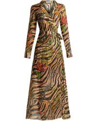 Adriana Iglesias - Beverly Zebra Print Silk Chiffon Dress - Lyst