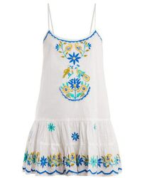 Juliet Dunn - - Floral Embroidered Cotton Dress - Womens - White Multi - Lyst