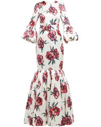 Rebecca de Ravenel - Patio Floral Print Silk Charmeuse Fishtail Gown - Lyst