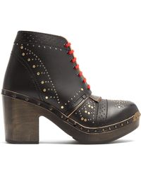 Burberry - Lace-up Studded Leather Ankle Boots - Lyst
