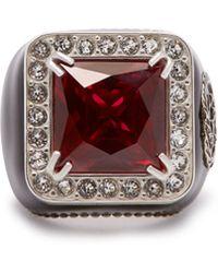 Gucci - Crystal Encrusted Gg Logo Signet Ring - Lyst