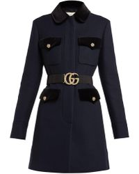 Gucci Velvet Trimmed Single Breasted Wool Coat - Blue