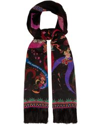 Etro - Floral And Fairy Print Silk Scarf - Lyst