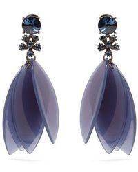 Oscar de la Renta - Crystal-embellished Petal Clip-on Earrings - Lyst