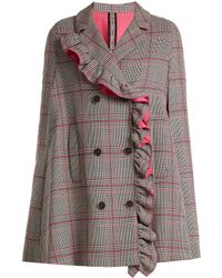 MSGM | Asymmetric-ruffle Prince Of Wales-checked Cape | Lyst