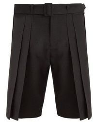 Saint Laurent - Belted Wide-pleated Wool Shorts - Lyst