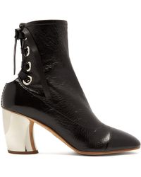 Proenza Schouler - Curved-heel Lace-up Leather Ankle Boots - Lyst