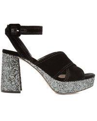 Miu Miu - Velvet And Glitter-covered Platform Sandals - Lyst