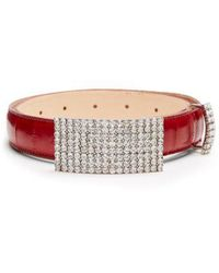 Alessandra Rich - Anguilla Crystal-embellished Leather Belt - Lyst