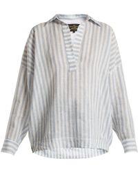 Vivienne Westwood Anglomania - Vault V Neck Cotton Shirt - Lyst