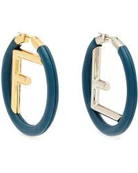 Fendi - Logo Leather Hoop Earrings - Lyst