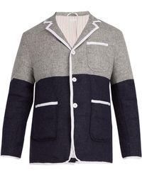 Thom Browne - Bi Colour Single Breasted Down Wool Coat - Lyst