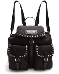 Prada - Small Stud-embellished Nylon Backpack - Lyst