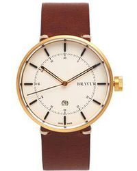 Bravur - Bw002 Stainless-steel And Grained-leather Watch - Lyst