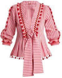 Dodo Bar Or - Skyler Tassel-embellished Striped Cotton Top - Lyst