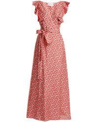 La Doublej Editions - Wedding Guest Domino-print Cotton Dress - Lyst
