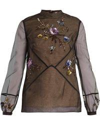 Erdem - Bernice Embellished Silk-organza Blouse - Lyst
