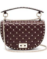 Valentino - Rockstud Spike Saddle Leather Shoulder Bag - Lyst