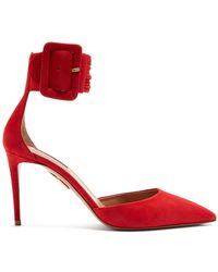 Aquazzura - Casablanca Suede Court Shoes - Lyst