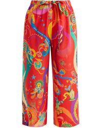 Etro - Abstract Print High Rise Silk Trousers - Lyst
