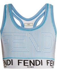 Fendi - Striped Logo-print Performance Bra - Lyst
