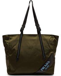 Prada - Logo Patch Shopping Bag Nylon Militare - Lyst