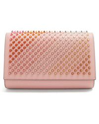 Christian Louboutin - Paloma Spike-embellished Leather Clutch - Lyst