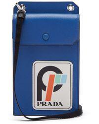 Prada - Logo Patch Leather Cardholder - Lyst