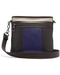 Bottega Veneta - Intrecciato Colour Block Leather Messenger Bag - Lyst