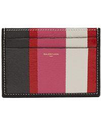 Balenciaga | Bazar Stripe Leather Cardholder | Lyst