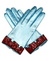 Gucci - Sequinned-cuff Leather Gloves - Lyst