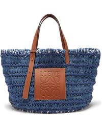 Loewe - Leather-trimmed Woven Denim Tote Bag - Lyst