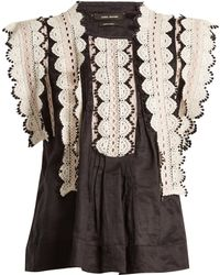Isabel Marant | Nandy Sleeveless Lace-trimmed Woven Top | Lyst