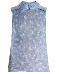 Miu Miu - Floral-print Sleeveless Top - Lyst