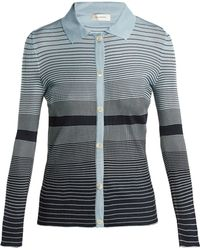Wales Bonner - Blue And Navy Striped Breton Cardigan - Lyst