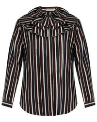 Nina Ricci - Striped Exaggerated-collar Silk Top - Lyst